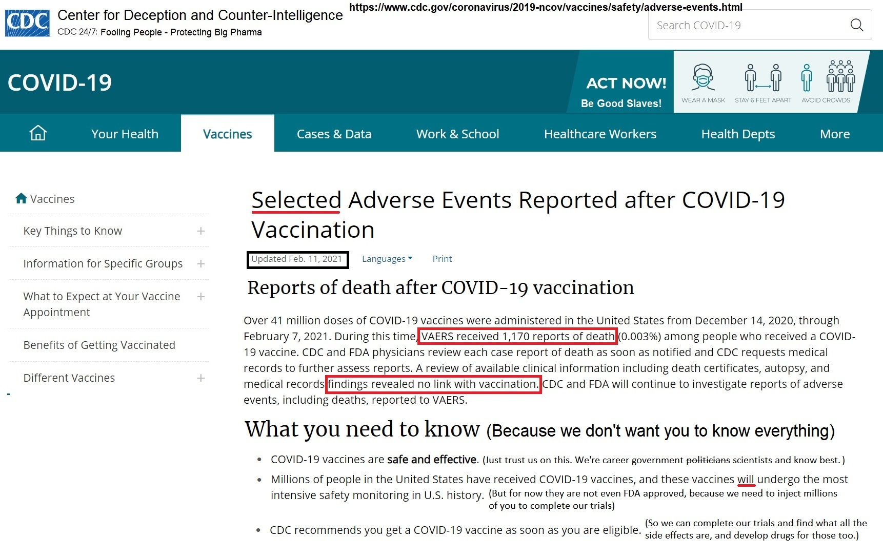 CDC UPDATE - 1,170 DEAD Following COVID Injections CDC-2.11-report-COVID