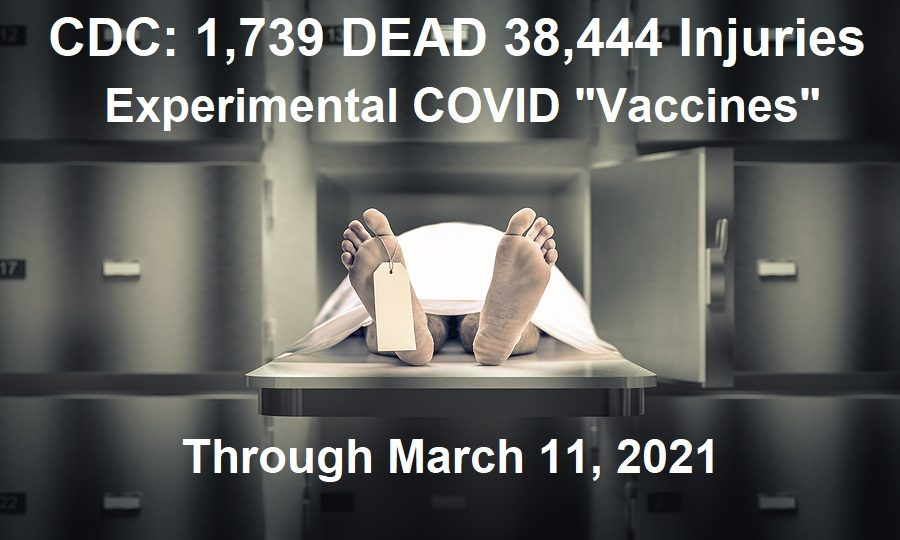 "1,739 DEAD as CDC Adds Another 200+ Recorded Deaths this Week Following COVID Experimental ""Vaccines"" CDC-COVID-Vaccine-deaths-and-injuries-3.19"