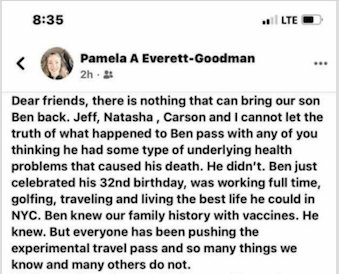 People Now Dying Following the Experimental Johnson and Johnson COVID Injections Pamela-Everett-Goodman