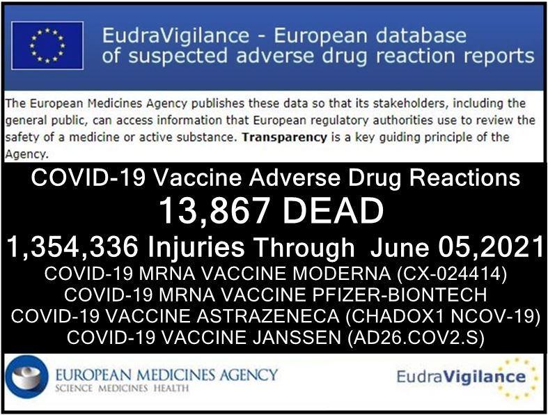 EUDRA Adverse Reaction Stats Though June 5th, 2021 EudraVigilance-05062021-summary-adrreports