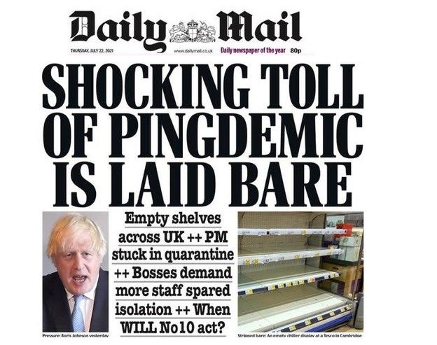 Panic Hits UK as Supermarket Shelves Go Bare Pingdemic-front-page