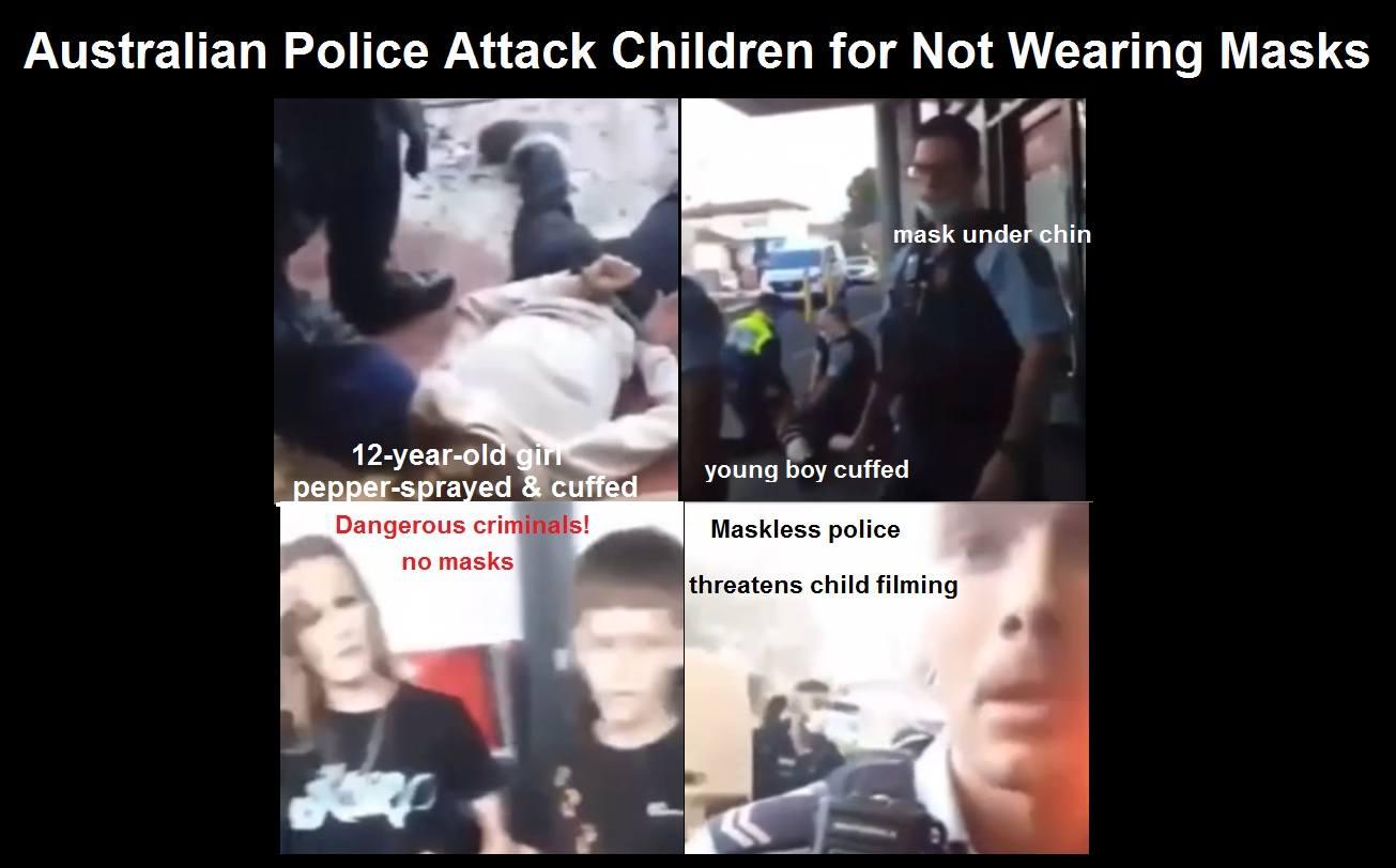 Australian Police Attacking and Pepper-Spraying Children for not Wearing Masks! Australian-police-attack-children