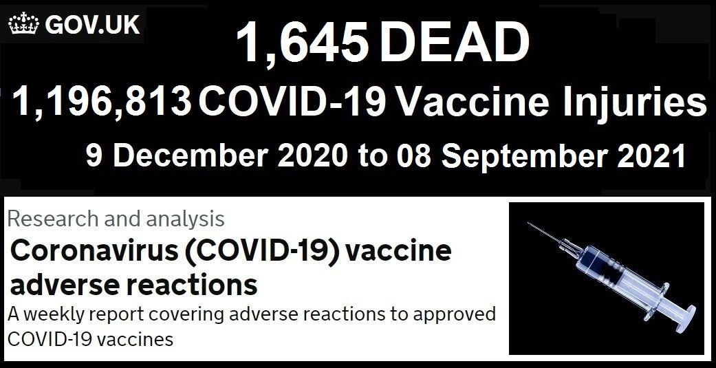 Fully Vaccinated Account for 74% of Covid-19 Deaths in the UK Summer Wave  UK-COVID-Vaccine-Adverse-Reactions-Report-9.15.21