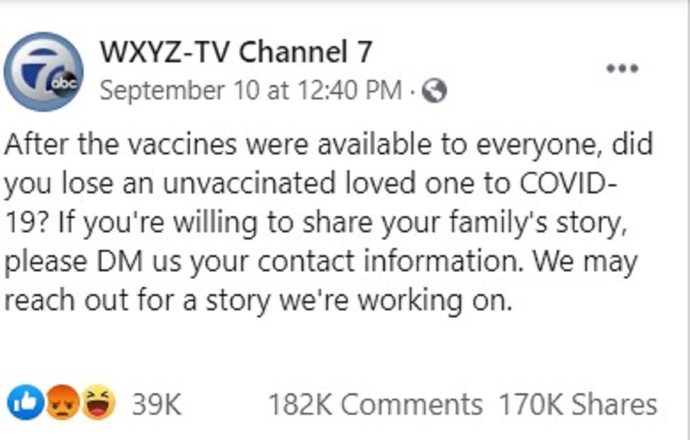 Local Detroit TV Asks for Stories of Unvaxxed Dying from COVID – Gets over 180K Responses of Vaccine Injured and Dead Instead WXYZ-unvax-stories-2
