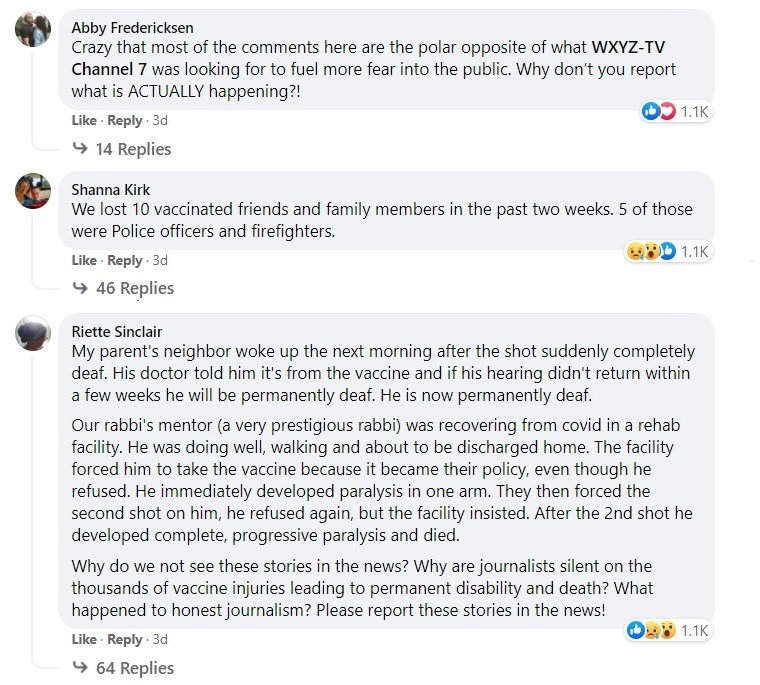 Local Detroit TV Asks for Stories of Unvaxxed Dying from COVID – Gets over 180K Responses of Vaccine Injured and Dead Instead WXYZ-unvax-stories-replies3a