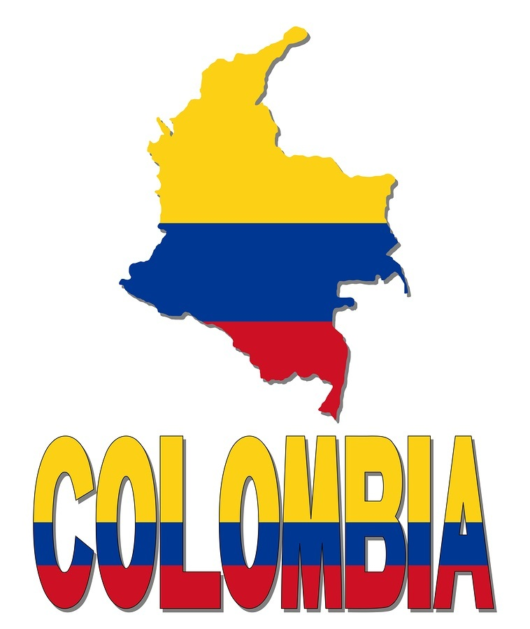 Colombia map flag and text illustration