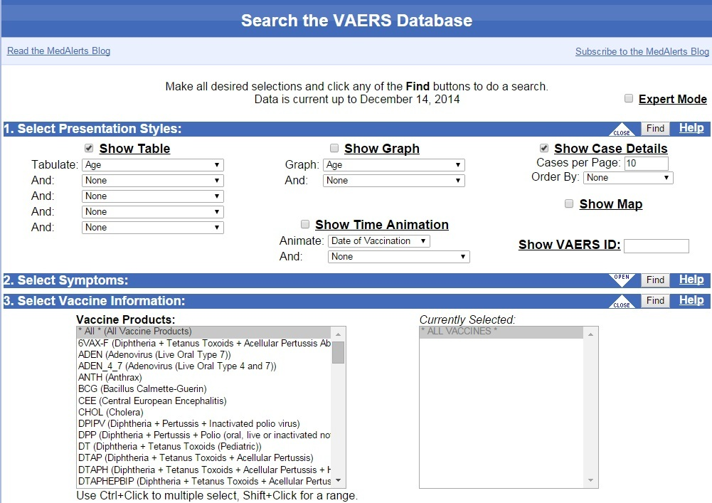 VAERS-search