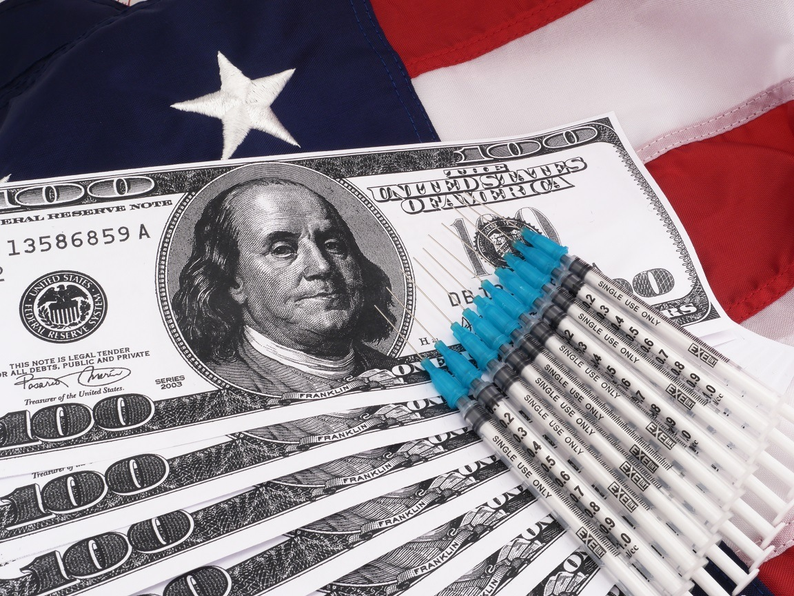 Government Concept: Government Savings And Budget With Piggy Bank Over American Flag