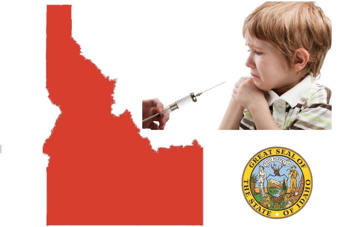 Idaho State map with young child being vaccinated and state seal image