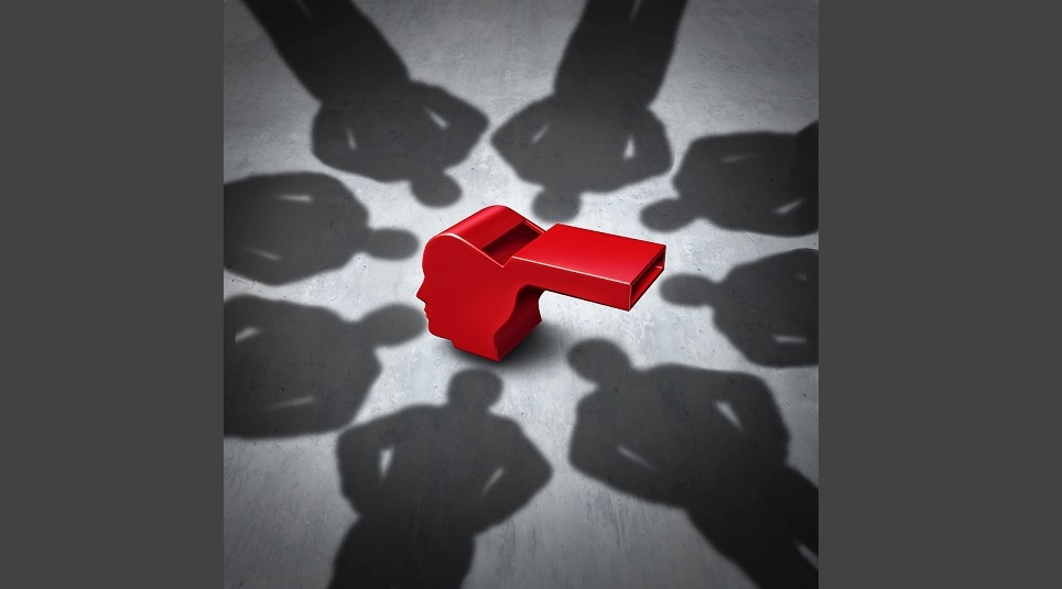 Intimidation of whistleblower concept and whistle blower stress symbol representing the pressure experienced for exposing corruption with shadows of people who do not follw the rules as a red whistle shaped as a human head.