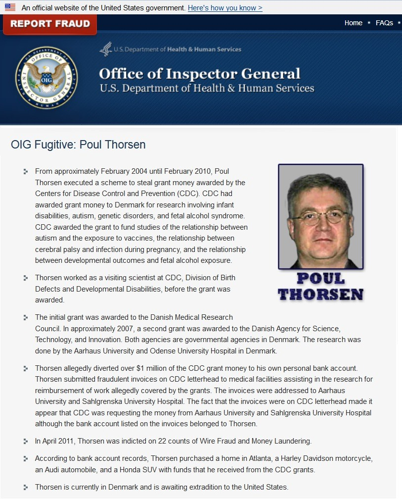 OIG report Poul Thorsen Fugitive