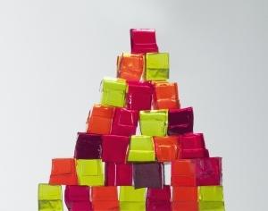Pyramid of vibrant gelatin dessert cubes