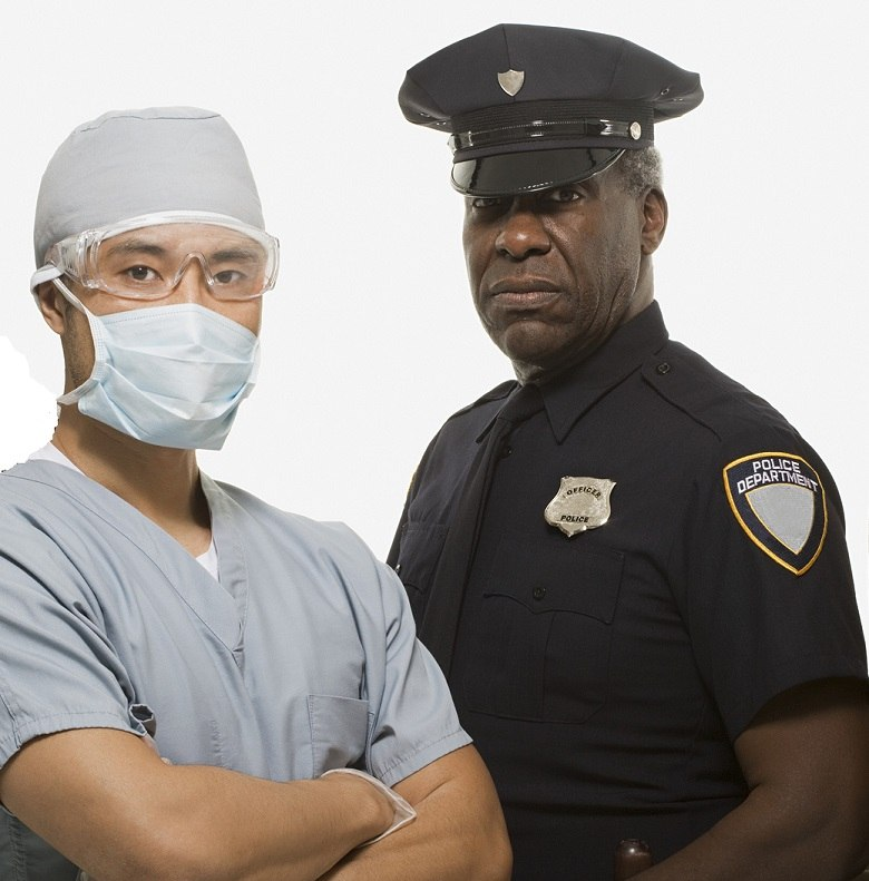 doctor and police officer