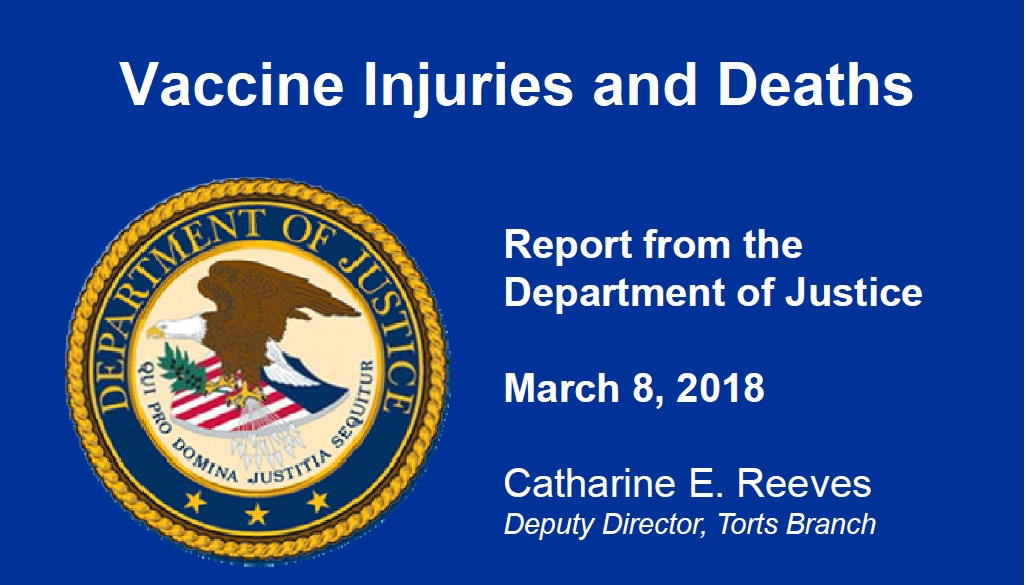 DOJ Report Vaccine Injuries Deaths 3.8.18