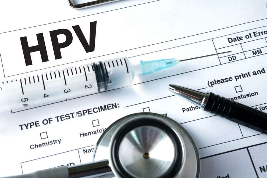 HPV Virus vaccine with syringe image