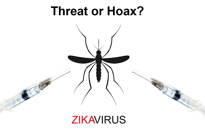 Zika mosquito vector with syringes.