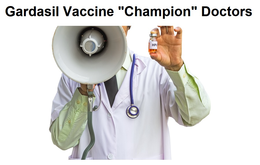 Male doctor shouting on a megaphone and holding HPV vaccine..