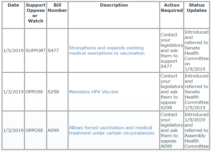 Proposed NY legislation vaccines