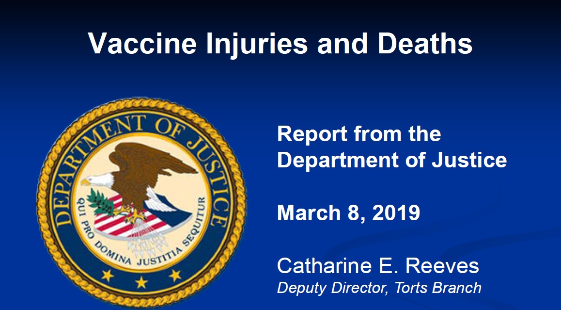 2019 DOJ Report on Vaccine Court Reveals Vaccines Continue to Injure and Kill People: $110 MILLION in Damages Paid Out First Quarter DOJ-report