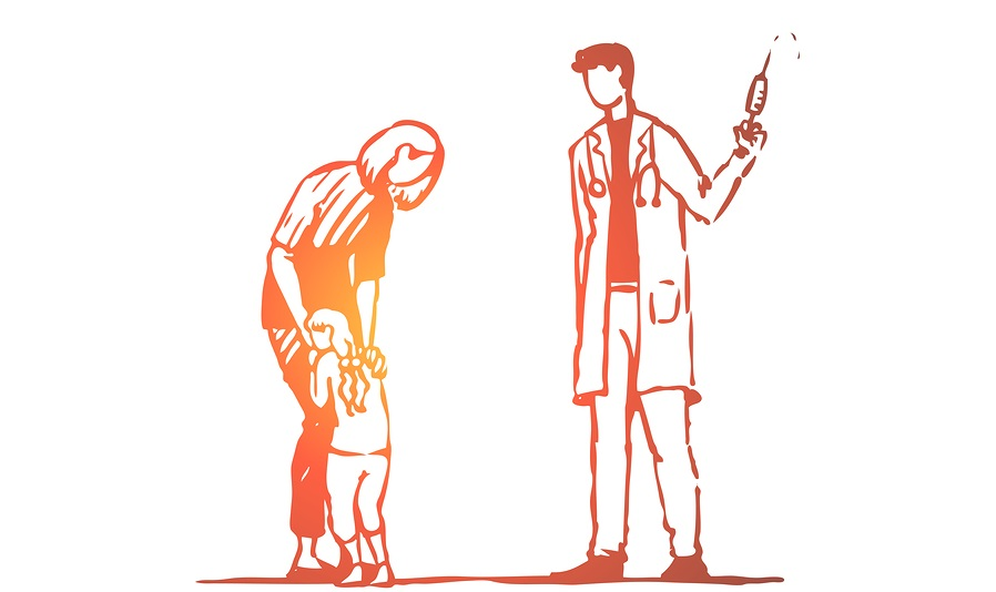 Child, doctor, injection, fear, syringe concept. Hand drawn child afraid of doctor with injection concept sketch. Isolated vector illustration.