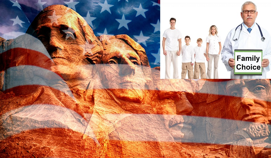 Mount Rushmore - sculpture with faces of four American Presidents on the United States flag