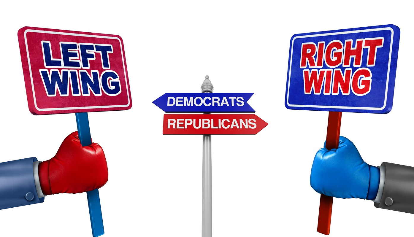 Left and right politics concept as two election candidates representing conservative and liberal values as democrat and republican debate using signs and boxing gloves.