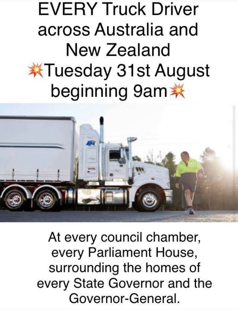 Australian Truckers Warn Citizens to Stock Up on Food as They Prepare to Take Over the Country Trucker-strike-image